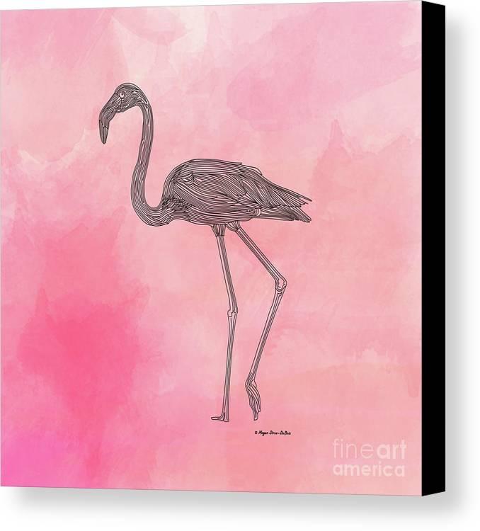 Bird Canvas Print featuring the digital art Flamingo3 by Megan Dirsa-DuBois