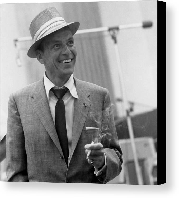 Canvas Print featuring the photograph Frank Sinatra In Studio by Peter Nowell