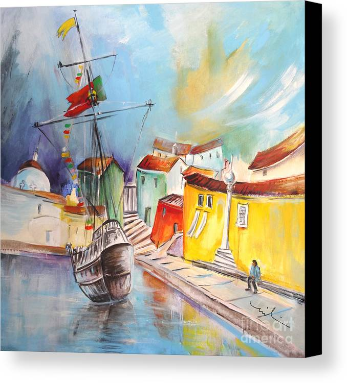 Portugal Canvas Print featuring the painting Gallion In Vila Do Conde by Miki De Goodaboom