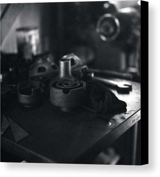 Black And White Canvas Print featuring the photograph Garage Tools And Parts by George Ferrell