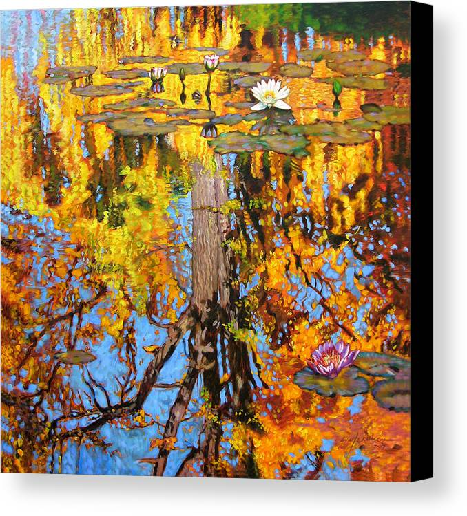 Landscape Canvas Print featuring the painting Golden Reflections On Lily Pond by John Lautermilch