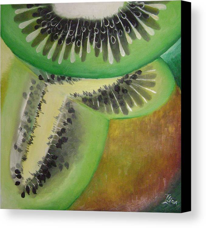 Abstract Canvas Print featuring the painting Green Ecstasy 1 by Lian Zhen