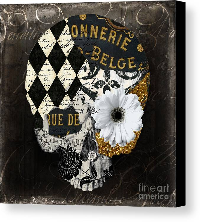 Skull Canvas Print featuring the painting Halloween In Paris by Mindy Sommers