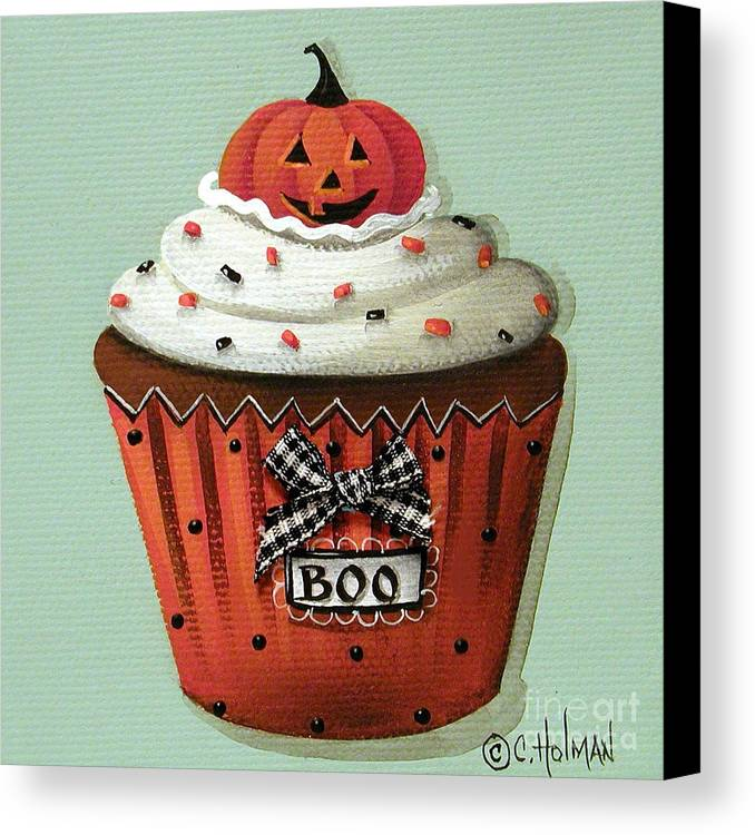 Art Canvas Print featuring the painting Halloween Pumpkin Cupcake by Catherine Holman