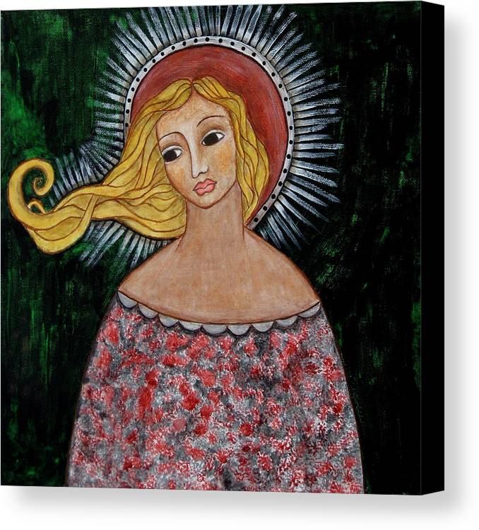 Folk Art Paintings Paintings Canvas Print featuring the painting Haniel by Rain Ririn