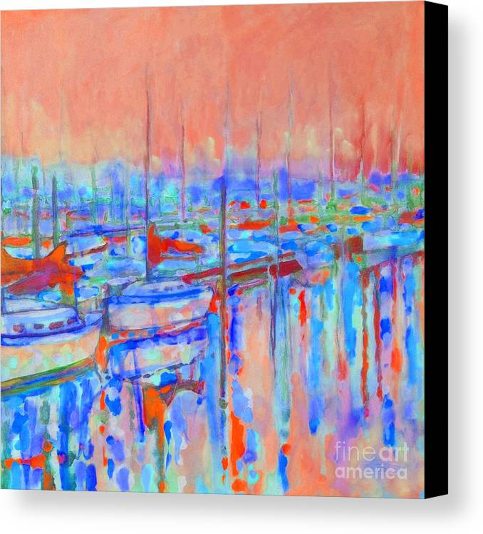 Harbor Canvas Print featuring the painting Harbor Sunrise Eight Am by Kip Decker