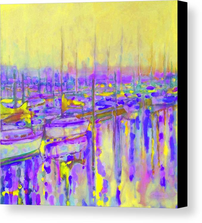 Harbor Canvas Print featuring the painting Harbor Sunrise II Seven Am by Kip Decker
