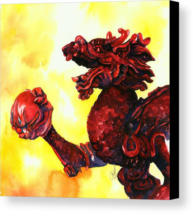 Asian Art Canvas Print featuring the painting Imperial Dragon by Christy Freeman