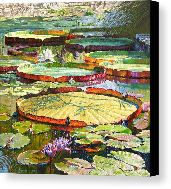 Garden Pond Canvas Print featuring the painting Interwoven Beauty by John Lautermilch