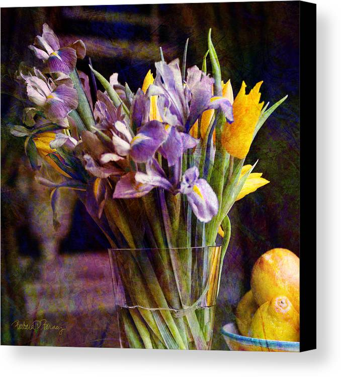 Purple Canvas Print featuring the digital art Irises In A Glass by Barbara Berney