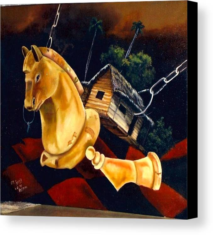Chess Pieces Canvas Print featuring the painting Juego Fatal by Carlos Rodriguez Yorde