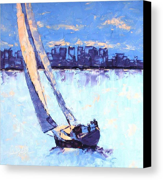 Boston Canvas Print featuring the painting Just Outside Of Boston by Leslie Saeta