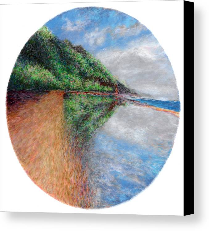 Rainbow Colors Pastel Canvas Print featuring the painting Ke'e Tondo by Kenneth Grzesik