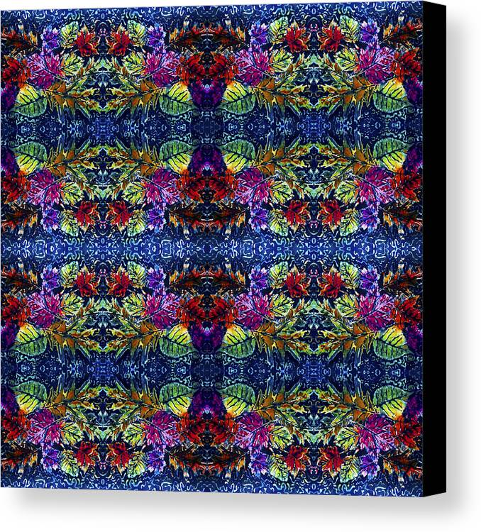 Leaves Canvas Print featuring the painting Leaves Batik Tiled by Sue Duda