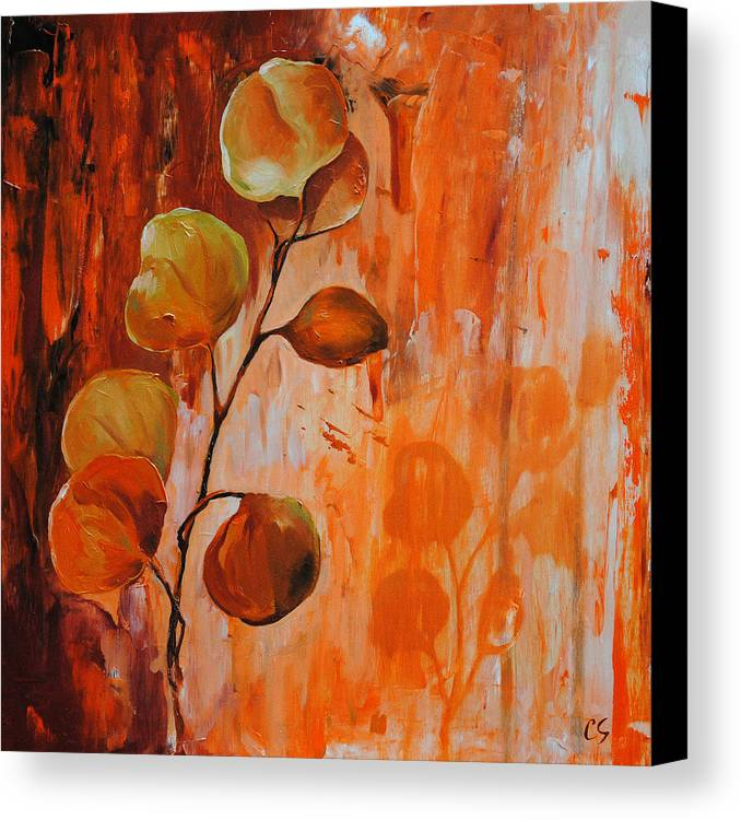 Leaves Canvas Print featuring the painting Leaves1 by Chris Steinken