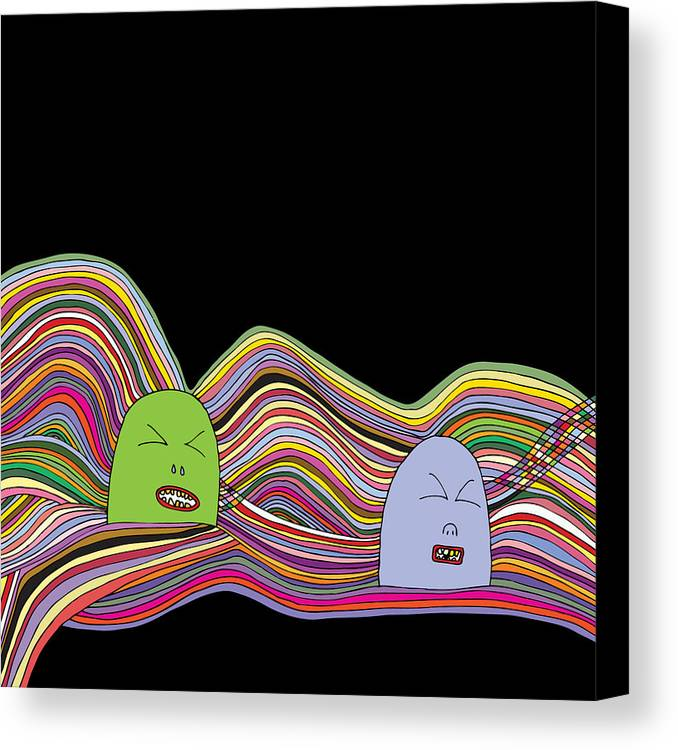 Illustration Canvas Print featuring the drawing Line Faces - Part 2 by Karl Addison