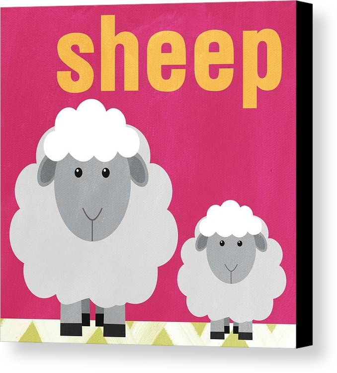 Sheep Canvas Print featuring the painting Little Sheep by Linda Woods