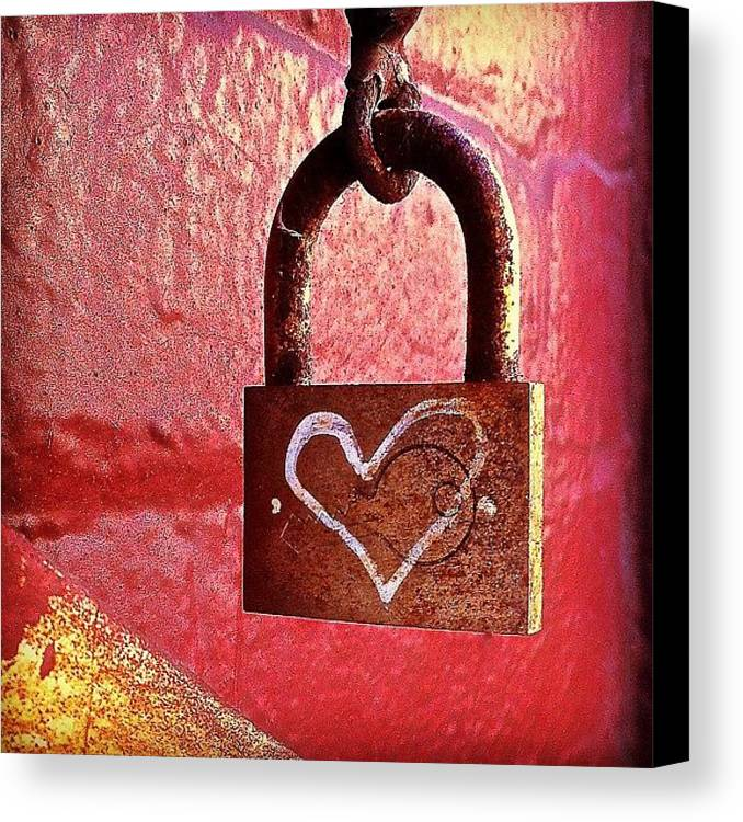 Lock Canvas Print featuring the photograph Lock/heart by Julie Gebhardt
