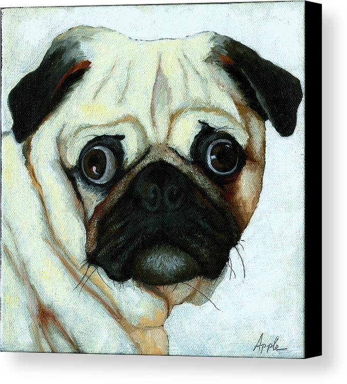 Dogs Canvas Print featuring the painting Love At First Sight - Pug by Linda Apple