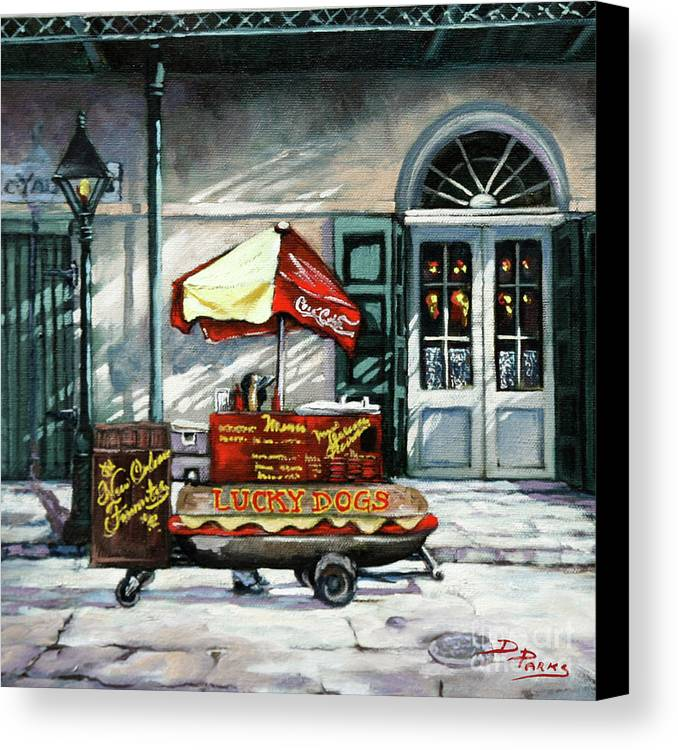 Lucky Dogs Canvas Print featuring the painting Lucky Dogs by Dianne Parks