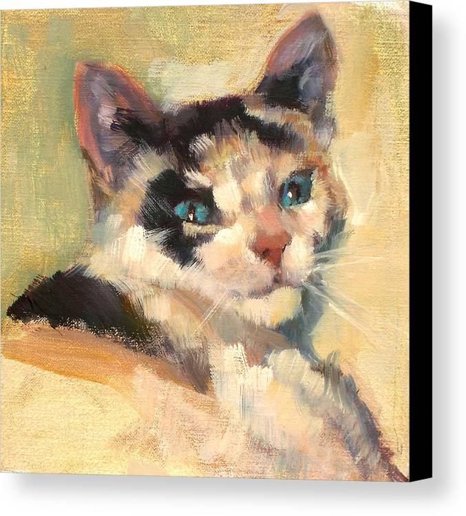 Cat Canvas Print featuring the painting Luna by Merle Keller