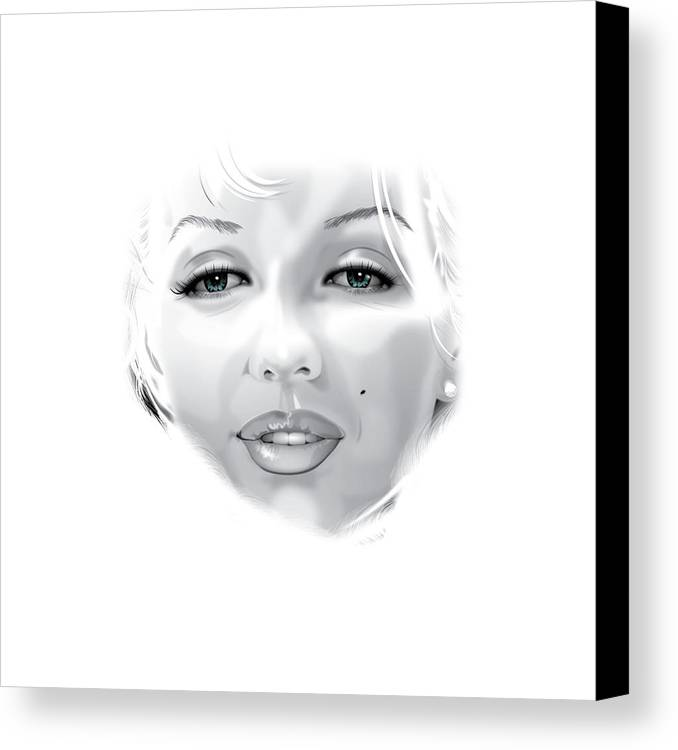 Marilyn Munroe Canvas Print featuring the drawing Marilyn by Brian Gibbs