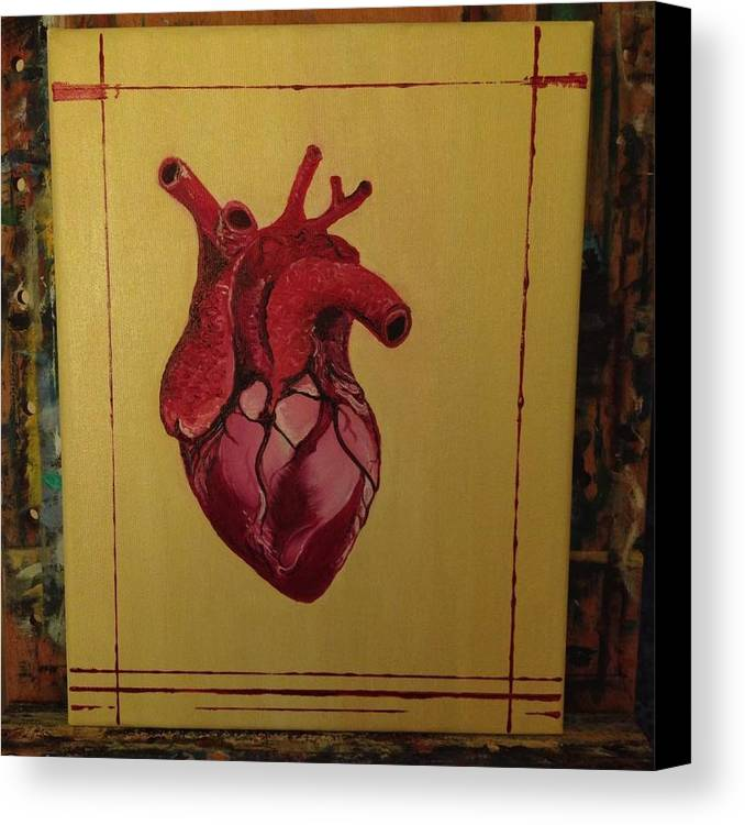 Heart Realistic Mein Herz Muscle Oil Canvas Print featuring the painting Mein Herz My Heart by Costin Tudor