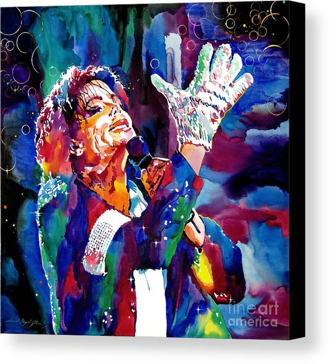 Michael Canvas Print featuring the painting Michael Jackson Sings by David Lloyd Glover