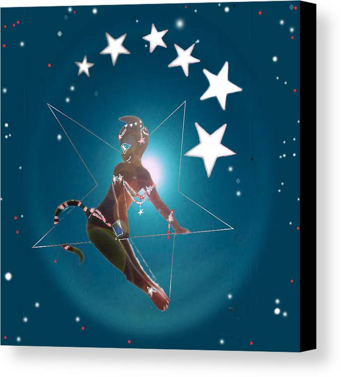 Miss Fifi In The Sky Canvas Print featuring the digital art Miss Fifiswinging On A Star by Silvia Duran