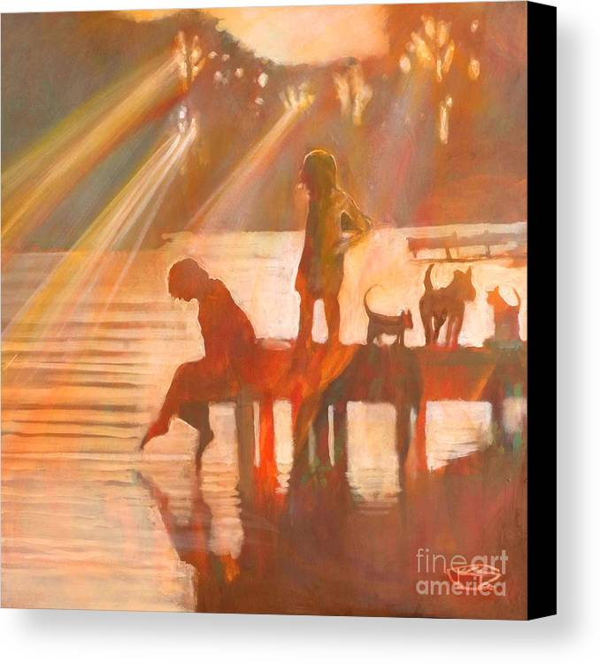 Children Canvas Print featuring the painting Mom Says You Gotta Come Now by Kip Decker