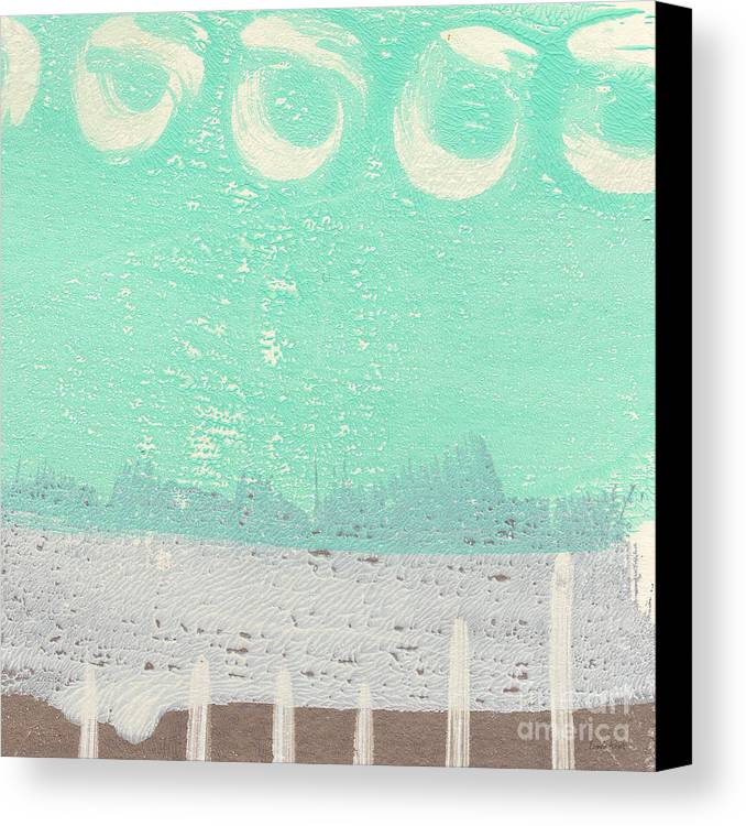 Abstract Canvas Print featuring the painting Moon Over The Sea by Linda Woods