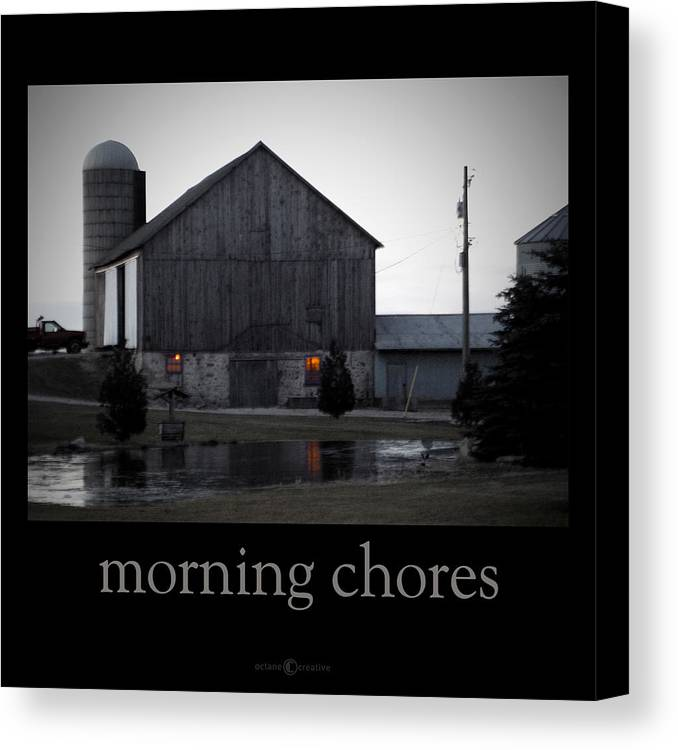 Poster Canvas Print featuring the photograph Morning Chores by Tim Nyberg