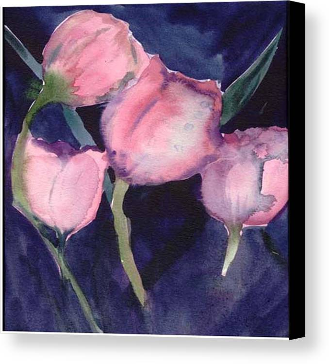 Tulips Canvas Print featuring the painting Night Tulips by Janet Doggett