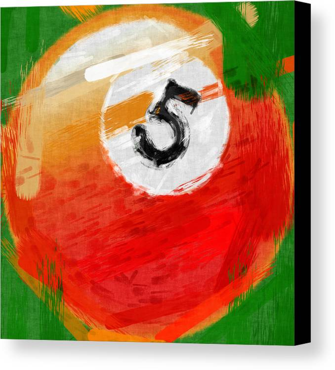 Five Canvas Print featuring the photograph Number Five Billiards Ball Abstract by David G Paul