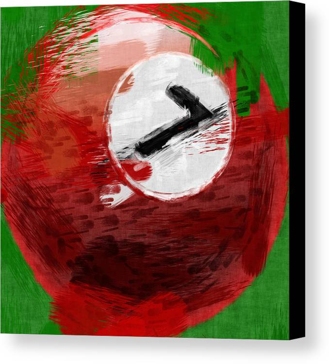 Seven Canvas Print featuring the photograph Number Seven Billiards Ball Abstract by David G Paul
