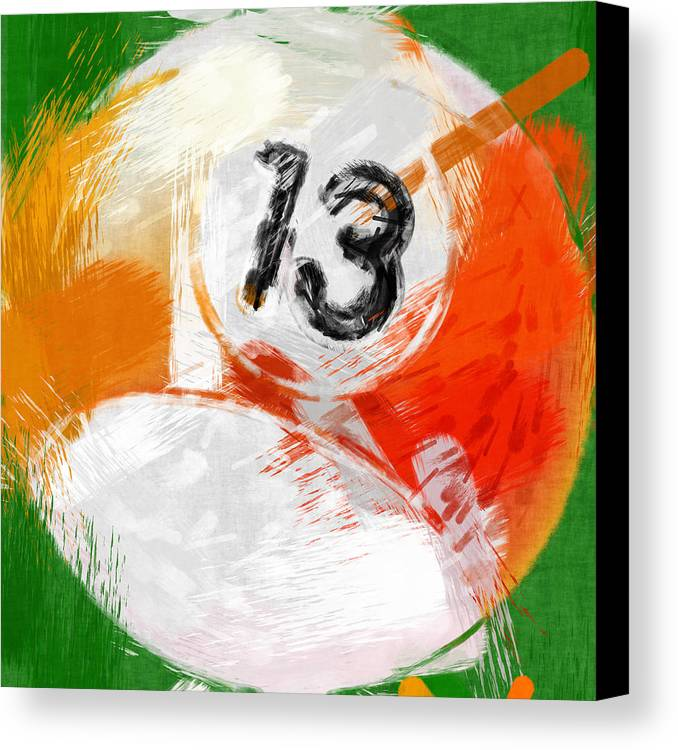13 Canvas Print featuring the photograph Number Thirteen Billiards Ball Abstract by David G Paul