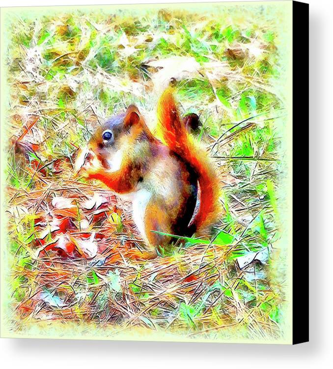 Nut Canvas Print featuring the digital art Nut N Honey by Leslie Montgomery