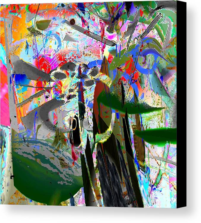 Abstract Red Blue Yellow Purple Canvas Print featuring the digital art Nuts by Dave Kwinter