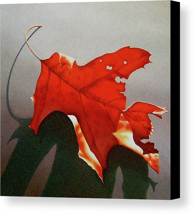 Leaf Canvas Print featuring the painting Oak Leaf 1 by Timothy Jones