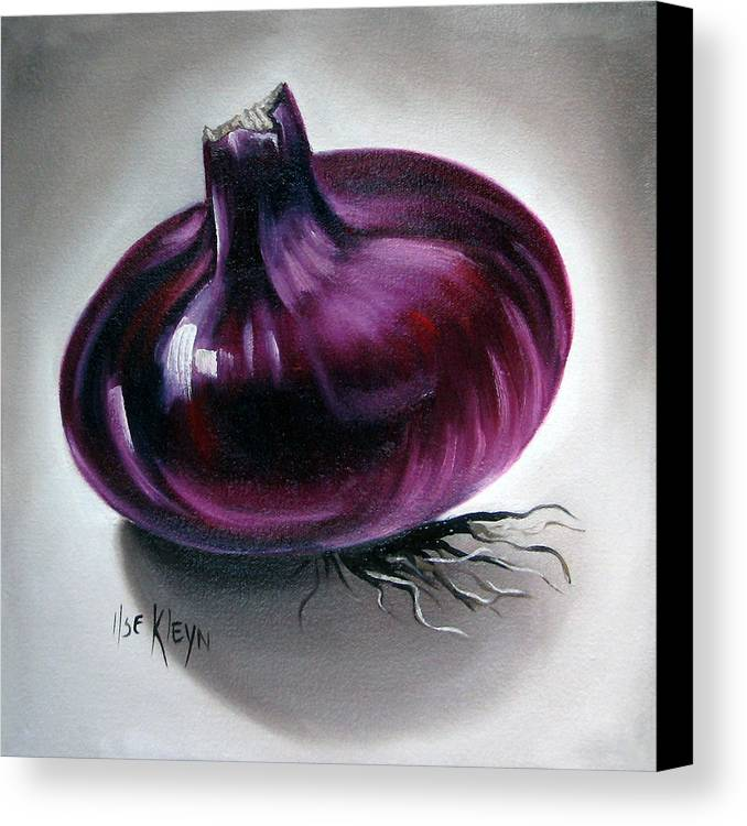 Kitchen Canvas Print featuring the painting Onion by Ilse Kleyn