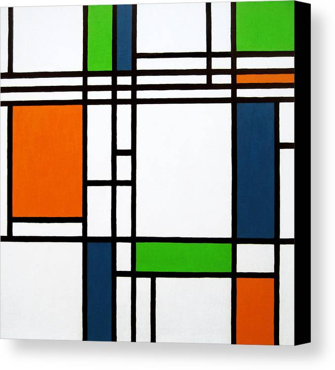 Squares Canvas Print featuring the painting Parallel Lines Composition With Blue Green And Orange In Opposition by Oliver Johnston