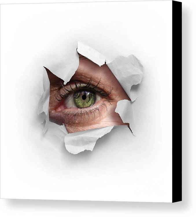 Abstract Canvas Print featuring the photograph Peek Through A Hole by Carlos Caetano