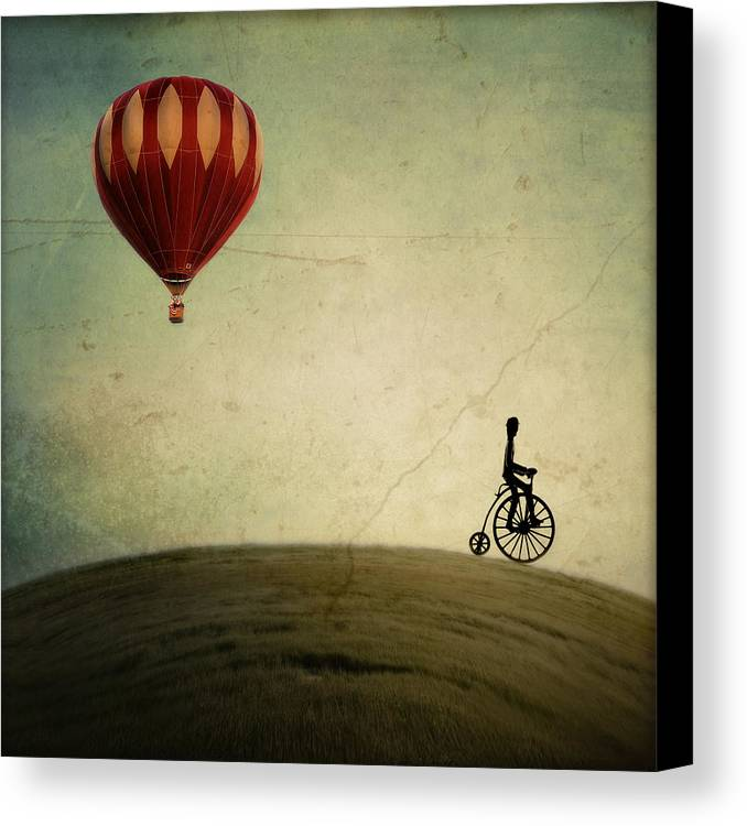 Hot Air Balloon Canvas Print featuring the photograph Penny Farthing For Your Thoughts by Irene Suchocki