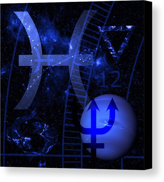 Horoscope Canvas Print featuring the digital art Pisces by JP Rhea