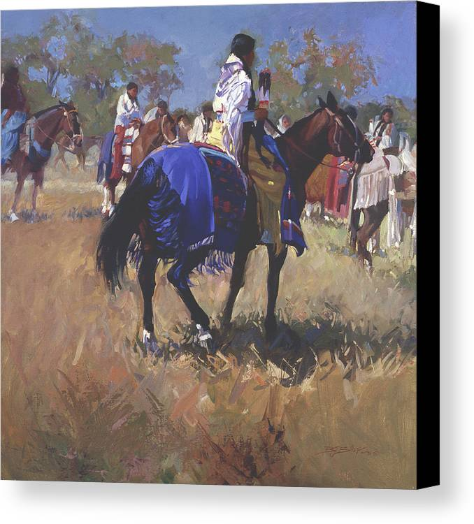 Horses Canvas Print featuring the digital art Place Of The Sun L. E. P. by Betty Jean Billups