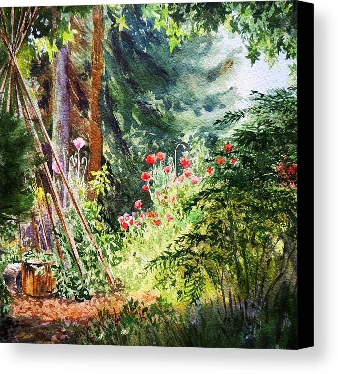 Landscape Canvas Print featuring the painting Poppy Garden Landscape by Irina Sztukowski
