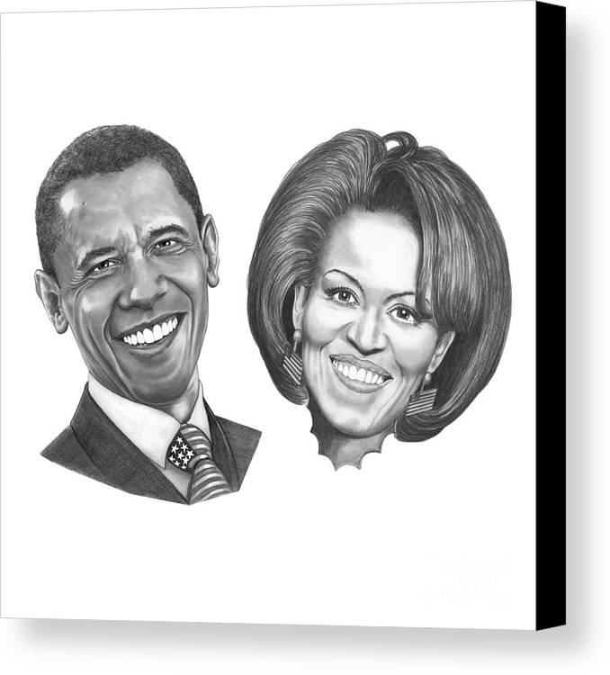Drawings Canvas Print featuring the drawing President And First Lady Obama by Murphy Elliott