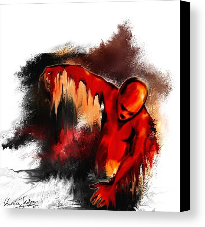 Red Man Passion Sureall Fire Canvas Print featuring the digital art Red Man by Veronica Jackson