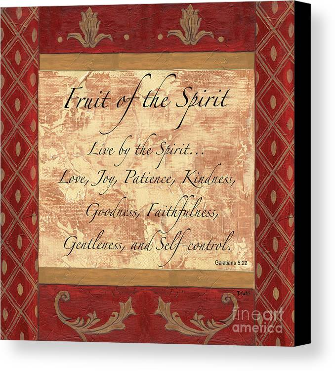 Fruit Of The Spirit Canvas Print featuring the painting Red Traditional Fruit Of The Spirit by Debbie DeWitt