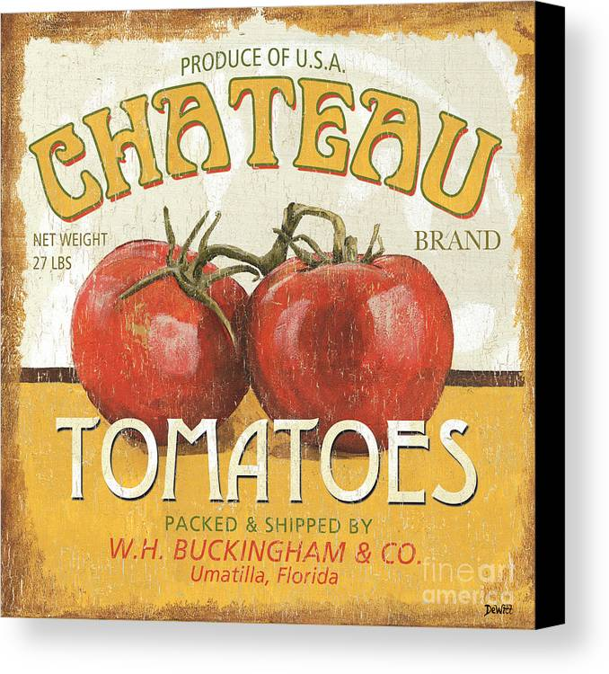 Food Canvas Print featuring the painting Retro Veggie Labels 4 by Debbie DeWitt